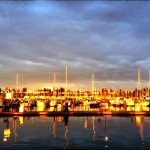 Looking back at the marina during sunset